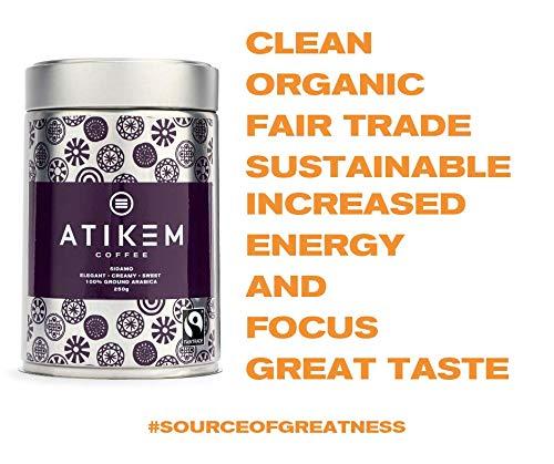 ATIKEM Organic Ground Ethiopian Coffee, Creamy Medium Roast Sidamo, Fairtrade Certified Premium Arabica – 227g (2X Pack)