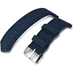 20mm MiLTAT WW2 Navy Blue Washed Canvas Watch Band, lockstitch pin-hole, P