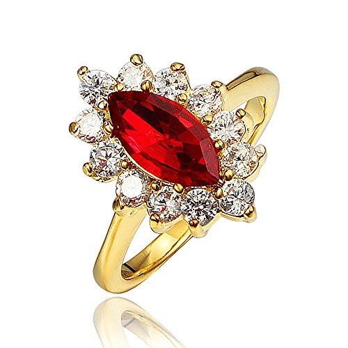 Anello in oro 18ct con cristallo austriaco ovale rosso rubino taglio princess crown, per donna e ragazza e oro giallo, 17, cod. sr8853