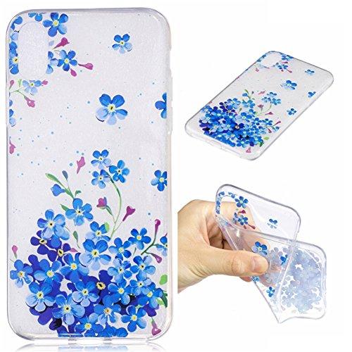 iPhone X Hülle, Voguecase Silikon Schutzhülle / Case / Cover / Hülle / TPU Gel Skin für Apple iPhone X(Regenbogenpferd) + Gratis Universal Eingabestift Blaue Blumen 12