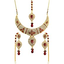 2679dc9c0753 Touchstone Gold Tone Indian Bollywood Diamante Faux Ruby meenakari Bridal  Jewelry Necklace Set for Women