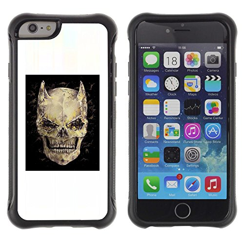 [ For APPLE IPHONE 6 / 6S (4.7 INCH) ][ ToughCase ][ Custodia ibrido ] - Devil Skull Horns Black Poster Death
