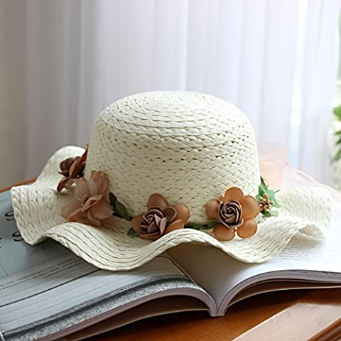 Chapeau chapeaux d'enfants, les filles fleurs sucrées, de champignons et d'autre grande eaves pac, des chapeaux, des guirlandes pac, vague eaves hat, chapeaux de plage,enfant,fonds Ivory