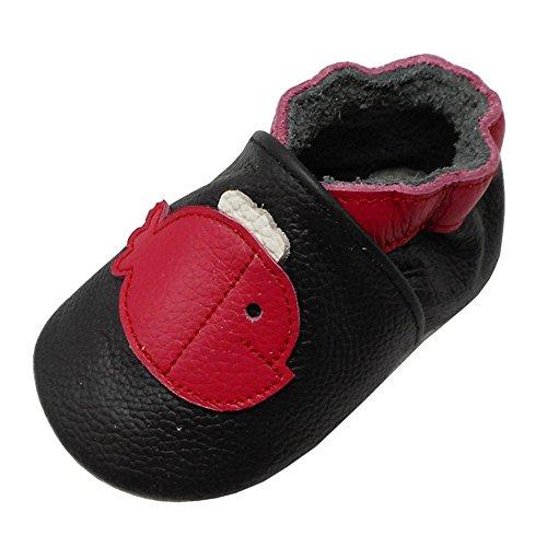 YALION Baby Weiches Leder Lauflernschuhe Krabbelschuhe Hausschuhe Lederpuschen Wal in 3 Farben Erhältlich (22/23, Schwarz) Leder Mocassin
