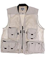 Gazechimp Multi-poche Gilet de Pêche Dos Tissu Amovible Vêtement Coton Polyester pour Sport Plein Air