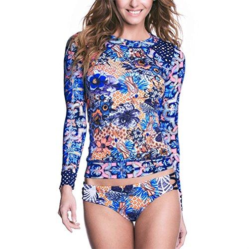 Honghu Damen Sommer Langarm Hals Bikini-Set Neckholder Bandeau Badeanzug Sandstrand Beachwear Swimsuits Blau