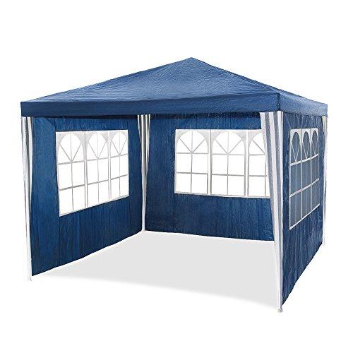 HG® 3x4m Festzelt Pavillon blau Partyzelt Wasserdicht Strandzelt mit Stahlrohre für Garten Camping Strand geeignet inkl. 4 abnehmbaren Seiten