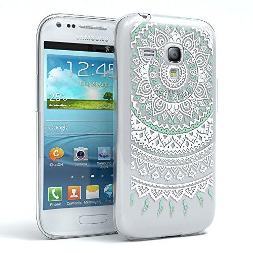 EAZY CASE Hülle für Samsung Galaxy S3 Mini Schutzhülle Silikon Mandala Design, Slimcover Henna, Handyhülle, TPU Hülle/Soft Case, Silikonhülle, Backcover, indische Sonne, transparent, Weiß/Türkis