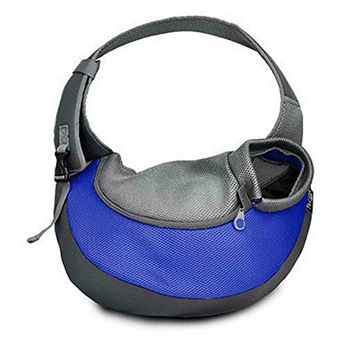 Topwell Pet Tragetasche für Hunde und Katzen, Verstellbar Outdoor-Umhängetasche, Reisetasche für Yorkie, Chihuahua Kleintier Transporttasche Leinentaschen (M, Blau)