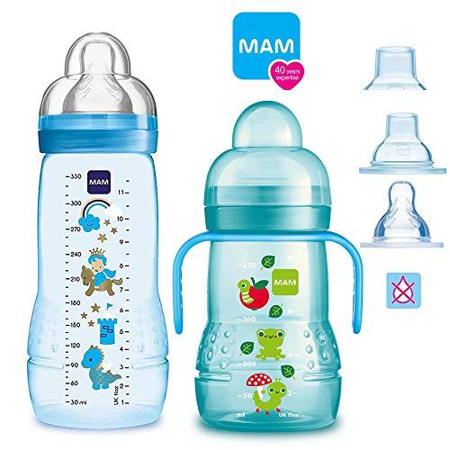 MAM Baby Bottle Smart Set da 4 mesi Easy Active biberon 330 ml con tettarella misura 2 & MAM Trainer con tettarella misura 4 salvagoccia & beccuccio morbido