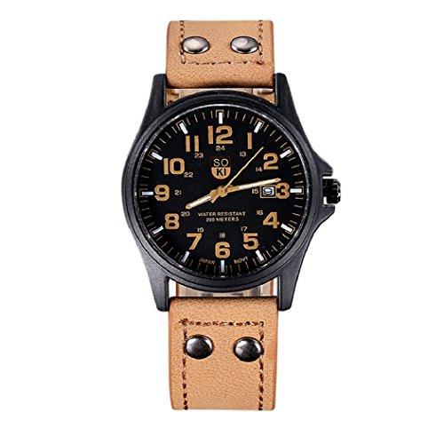 Valentinstag Uhren Dellin Vintage Classic Herren Wasserdicht Datum Lederband Sport Quarz Army Watch (Khaki)