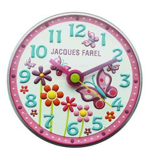 JACQUES FAREL WAL01 Butterfly - Schmetterling Kinderzimmer lautlos Wand Uhr Mädchen Kinderwanduhr geräuscharm Kunststoff Analog