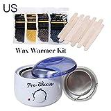 hengduolailin Kit de calentador de cera caliente para mujeres, temperatura constante, depilación sin dolor, máquina de calentador de cera + 50 g de frijoles de cera dura + 10 piezas de palos de cera