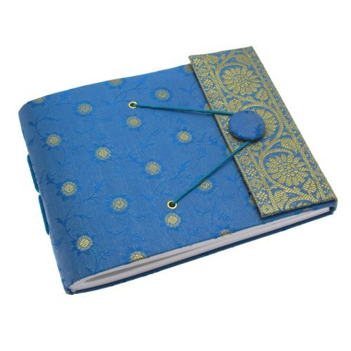 Fair Trade Fotoalbum Sari 180 x 140 mm klein - blau (Sari Recycling)