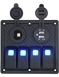 T Tocas impermeable Flush Mount 4pulsadores Rocker Switch Panel & 12V Cigarette Power Socket & Doble Puertos USB intergrate para 12V/24V RV Auto Barco yate, indicador LED azul