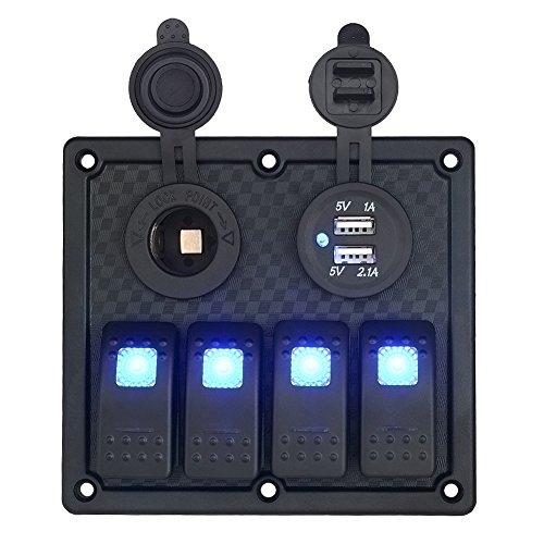 T Tocas Wasserdichtes Erröten Einfassung 4 Gang Rocker Switch Panel & Zigaretten-12V-Steckdosen & Double USB-Anschlüsse integrieren für 12V/24V RV Fahrzeug Boot Yacht, blauer LED Anzeige