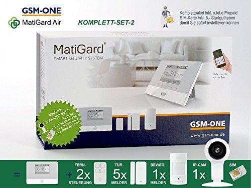 GSM Alarmanlage MatiGard Air von GSM-One, KOMPLETTPAKET 2 inkl. IP-CAM und SIM-Karte (Gsm-cam)
