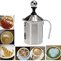 Aliciashouse In acciaio inox pompa schiuma Ugello Creamer schiuma Cappuccino 400ML caffè doppia maglia