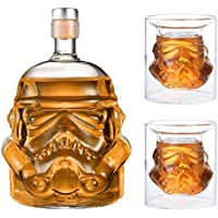 JUSSES Carafe à Whisky créative Transparente, Carafe à Whisky, pour Whisky, Vodka et vin, 1 * Bouteille (750 ML) et 2…
