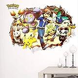 Hcxbb-f Cartoon Pikachu Pokemon Mur, Autocollant 3D Smashed for Les Chambres d'enfants Stickers Muraux Décoration Affiche Nursery Enfants Autocollants Chambre, 50x70cm...