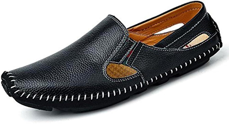 Sandalen Herren Leder Sommer Handgefertigte Sandstrand Schuhe Mode und Bequem zu Tragen  44