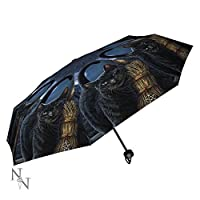 Lisa Parker - Folding Umbrella - A Brush With Magick - Black cat & Witches Broom