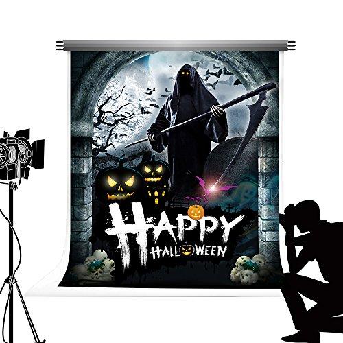 Kate Happy Halloween Foto Hintergrund Schwarz Hintergrund Sensenmann Poster Photocall für Studio Fotografie 5x7ft / 1.5x2.2m