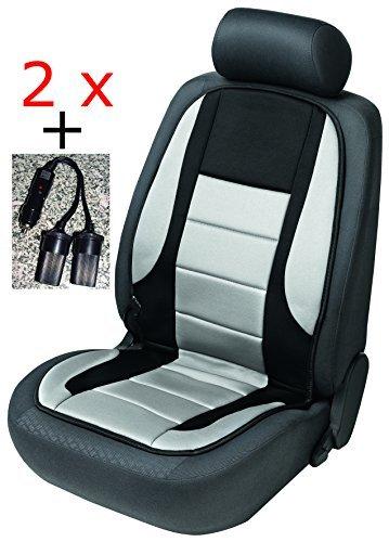 2x beheizbare Sitzauflage/Sitzheizung Hot Stuff 16792 schwarz/grau + Doppelsteckdose für 12V Zigarettenanzünder
