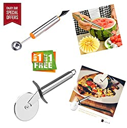 Bagonia | Special Offer | 2 in 1 Melon Baller, Fruit Carving Knife With Free Pizza and Pastry Cutter with Stainless Steel Cutting Wheel (Colour May Vary) (Buy 1 Get Pizza Cutter Free)