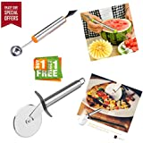 Bagonia | Special Offer | 2 In 1 Melon Baller, Fruit Carving Knife With Free Pizza And Pastry Cutter With Stainless Steel Cutting Wheel (Colour May Vary) (Buy 1 Get 1 Free Offer)