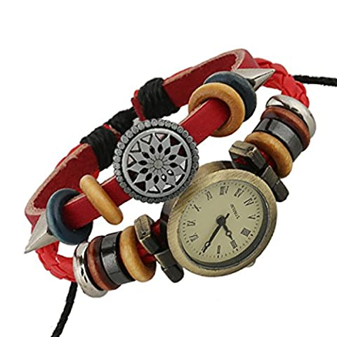 LZHM New Fashion Circle Leather Bracelet Wristband For Ladies Surf Style Tribal Braided Rope Multi Strands Bracelets Beaded Red Watch