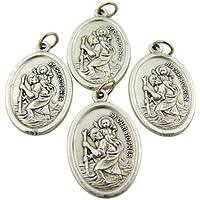 Bulk Lot of 4 Patron of Travel Saint Christopher 1-inch Silver Tone Medal by Lumen Mundi