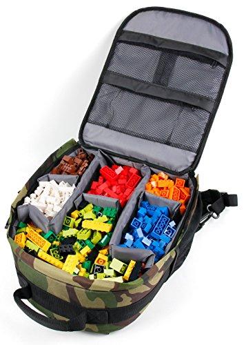 DURAGADGET Mochila Organizadora De Piezas De LEGO + Funda Impermeable - Diseño Camuflaje - ¡Ideal Para Regalo!