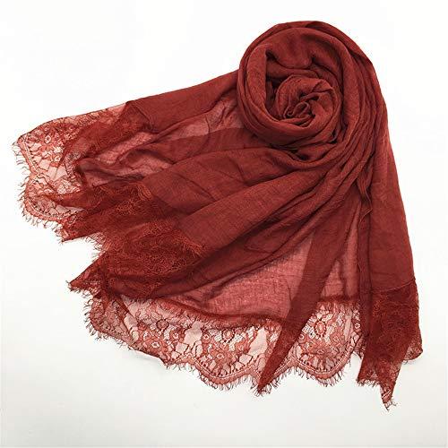 NQING Chiffon Frauen Schal Einfarbig Spitze Bequem Schalldämpfer Herbst Sommer Sonnencreme Atmungsaktiv Schal Velvet Red Riding Hood