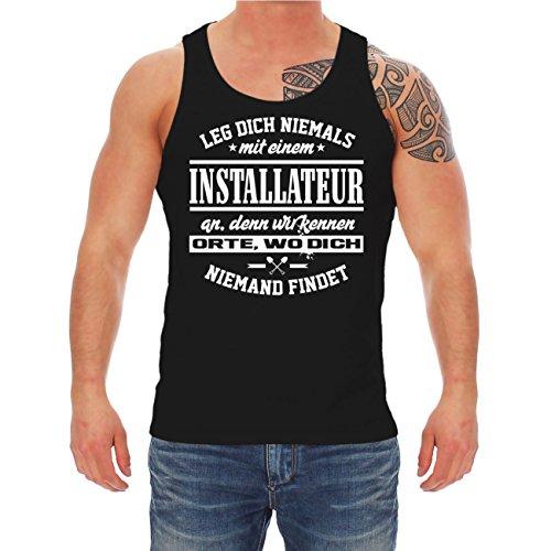Männer und Herren Trägershirt Leg dich niemals mit einem INSTALLATEUR an Schwarz