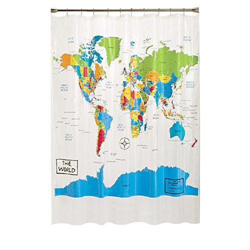 Loriver poliéster Mapa Mundo Arte baño Cortina de baño Decoración ducha (180x180cm) con 12 ganchos