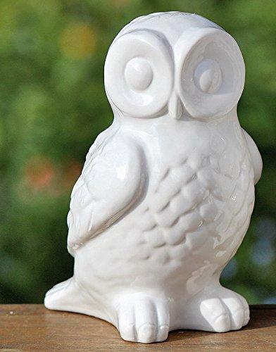 Eule Dekofigur Porzellan weiß Höhe ca 19 cm Landhaus Stil