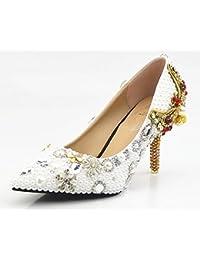 Scarpe da sposa XDGG donne perla bianca pura diamante del fiore di farfalla  Ultra High con 6257e2f0adc