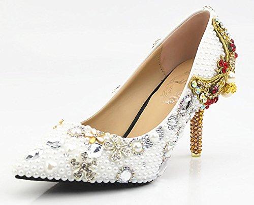 Scarpe da sposa XDGG donne perla bianca pura diamante del fiore di farfalla Ultra High con impermeabile scarpe cristallo Handmade white9cm