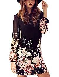b545733264 Vestido de Verano Largo por la Rodilla Chiffon Stampa Flor Falda Mujer  Casual Elegante Boda Playa