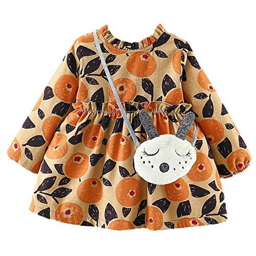 ZHRUI Kleinkind Baby mädchen, Mode Muster gedruckt Langarm a-line Dress Casual Herbst hohe Taille Mini Dress Nette Partei Prinzessin Dress für 6-24 m neugeborenes Baby Dress