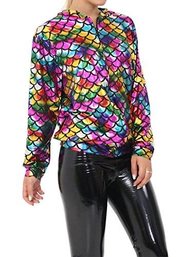 Islander Fashions Damen Metallic Fisch Ma�Stab Meerjungfrau Rainbow Jacket Damen Langarm Party Wear Bomberjacke Medium/Large