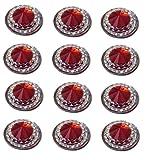 40x selbstklebende Ruby Rot Diamant Rund Strass Acryl Kristalle Stick auf Gems für Karte machen, Handwerk, Hochzeit Einladungen