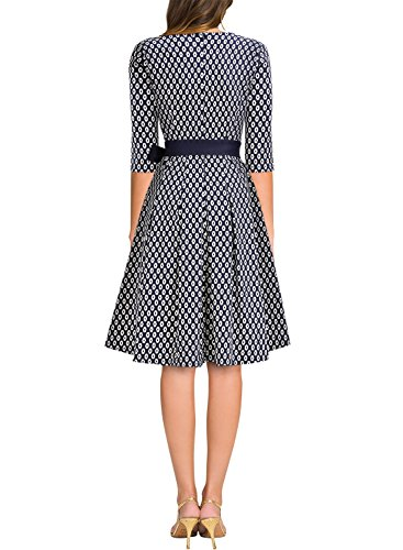 MIUSOL Elegant 50er Jahre Retro Rockabilly Tiefer V-Ausschnitt Cocktailkleid Party Stretch Kleid Navy Blau Gr.S -