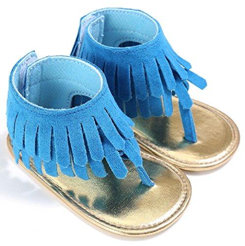 Auxma Baby Mädchen Krippe Schuhe Neugeborene Blume Soft Sohle Anti-Rutsch Baby Sneakers Sandalen für 3-18 Monate (6-12 M, Blau) Blau