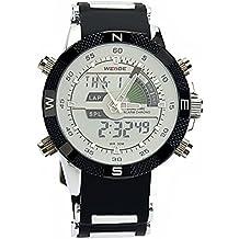 PIXNOR Hora Dual WEIDE WH-1104 impermeable de los hombres deportivos LED Digital reloj de pulsera de cuarzo con fecha cronómetro alarma correa de caucho