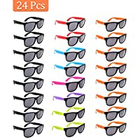 VCOSTORE Neon Party Sunglasses Bulk, 24 Pack Assorted Cool Colors Frame Retro Party Eyewear Sunglasses with Black Lens in Colored Handle