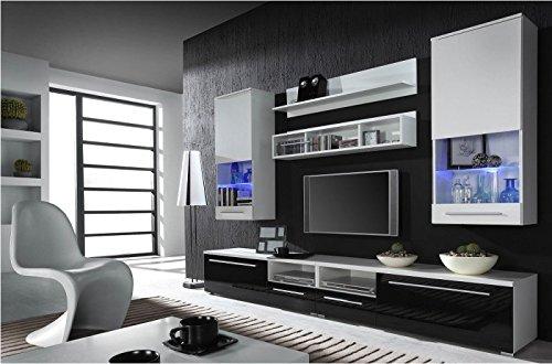 Wohnwand Komplett 'Luna' Hochglanz Wohnzimmer Tv Wand, Farbe:Walnuss Dunkel