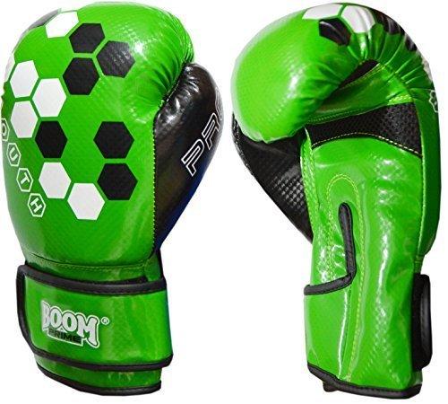 BOOM Prime Kinder Boxhandschuhe 4oz 6oz 8oz Maya Leder Sparring Boxsack MMA Muay Thai Training Punch Fausthandschuh Blau Grün - Grün, 4oz