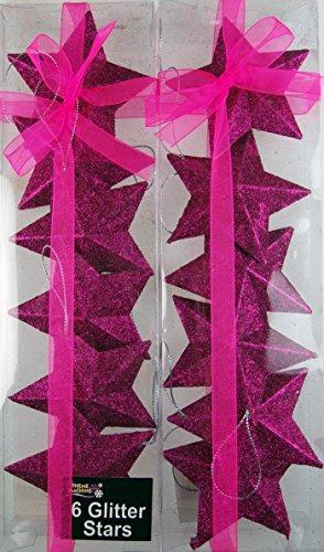 Set von 12Dazzling Hot Pink Glitter Stars–Weihnachtsbaum Kugeln - Set Christmas Nativity Tree